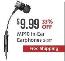 Monoprice Black Friday: MP10 In-ear Earphones for $9.99