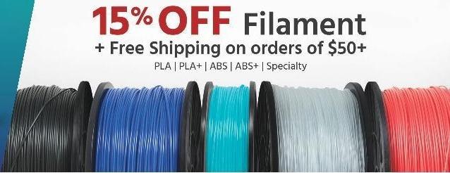 Monoprice Black Friday: 3D Printer Filament - 15% Off
