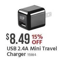 Monoprice Black Friday: USB 2.4A Mini Travel Charger for $8.49