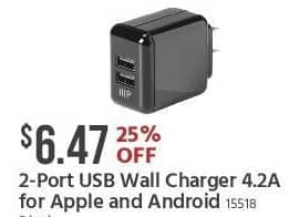 Monoprice Black Friday: 2-Port USB Wall Charger 4.2A for Apple and Android for $6.47