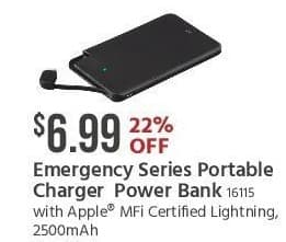 Monoprice Black Friday: Emergency Series Portable Charger 2500mAh Power Bank for $6.99