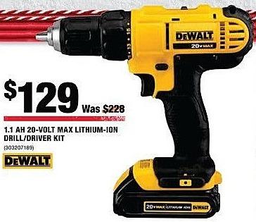 Home Depot Black Friday: DeWalt 1.1AH 20-Volt Max Lithium-Ion Drill/Driver Kit for $129.00