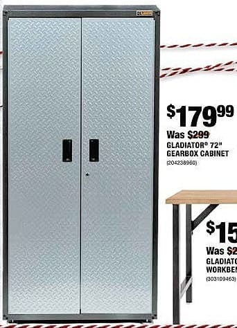 """Home Depot Black Friday: Gladiator 72"""" Gearbox Cabinet for $179.99"""