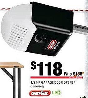 Home Depot Black Friday: Genie 1/2 HP Garage Door Opener for $118.00