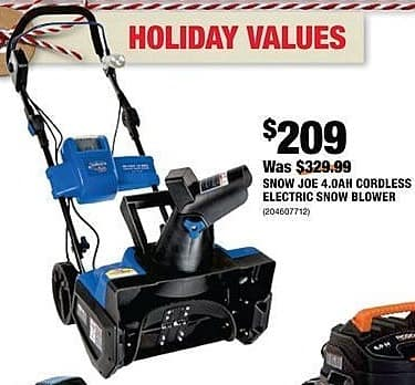 Home Depot Black Friday: Snow Joe 4.0AH Cordless Electric Snow Blower for $209.00