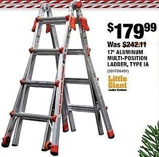 Home Depot Black Friday: Little Giant 17' Aluminum Multi-position Ladder, Type IA for $179.99
