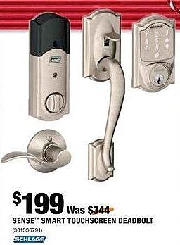Home Depot Black Friday: Schlage Sense Smart Touchscreen Deadbolt for $199.99