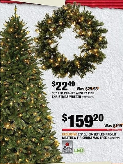 Home Depot Black Friday: Home Accents 7.5' Quick-Set LED Pre-Lit Matthew Fir Christmas Tree for $159.20