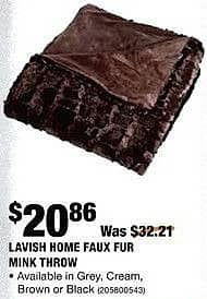 Home Depot Black Friday: Lavish Home Faux Fur Mink Throw in Grey, Cream, Brown or Black for $20.86