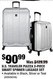Home Depot Black Friday: U.S. Traveler Piazza 2-Piece Smart Spinner Luggage Set in Black, Silver or Teal for $90.99