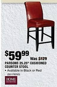"Home Depot Black Friday: Home Decorators Collection Parsons 25.25"" Cushioned Counter Stool for $59.99"