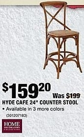 "Home Depot Black Friday: Home Decorators Collection Hyde Cafe 24"" Counter Stool for $159.20"