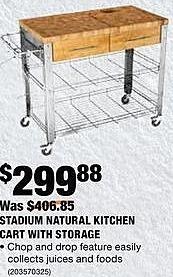 Home Depot Black Friday: Stadium Natural Kitchen Cart for $299.88