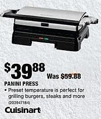Home Depot Black Friday: Cuisinart Panini Press for $39.88