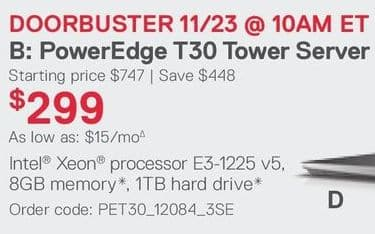 Dell Small Business Black Friday: PowerEdge T30 Tower Server