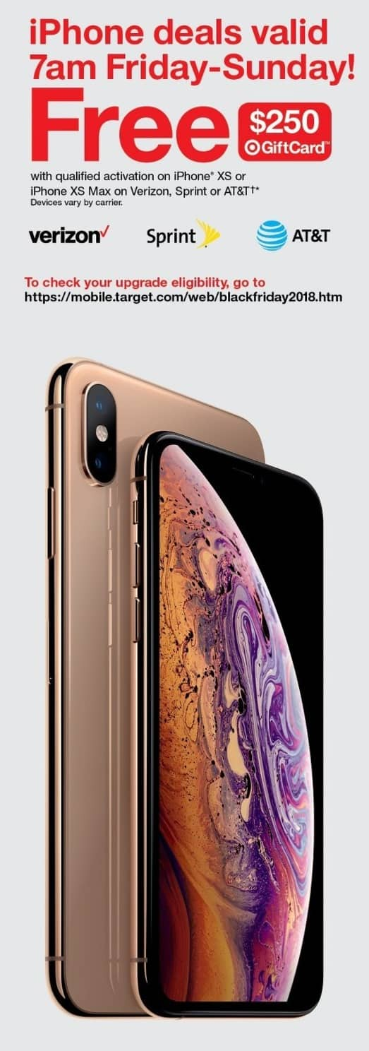 iPhone XS or XS Max + $250 Target Gift Card - w/Qualified