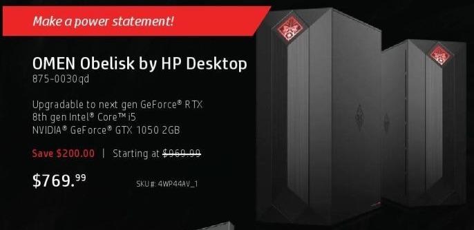 HP Black Friday: HP Omen Obelisk Desktop: 8th Gen i5 Intel