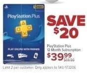GameStop Black Friday: Playstation Plus 12 Month Subscription Card