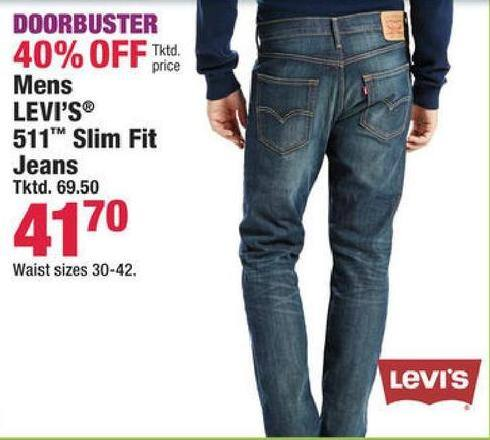 Boscov s Black Friday  Levi s Men s 511 Slim Fit Jeans for  41.70 ... b13e622de