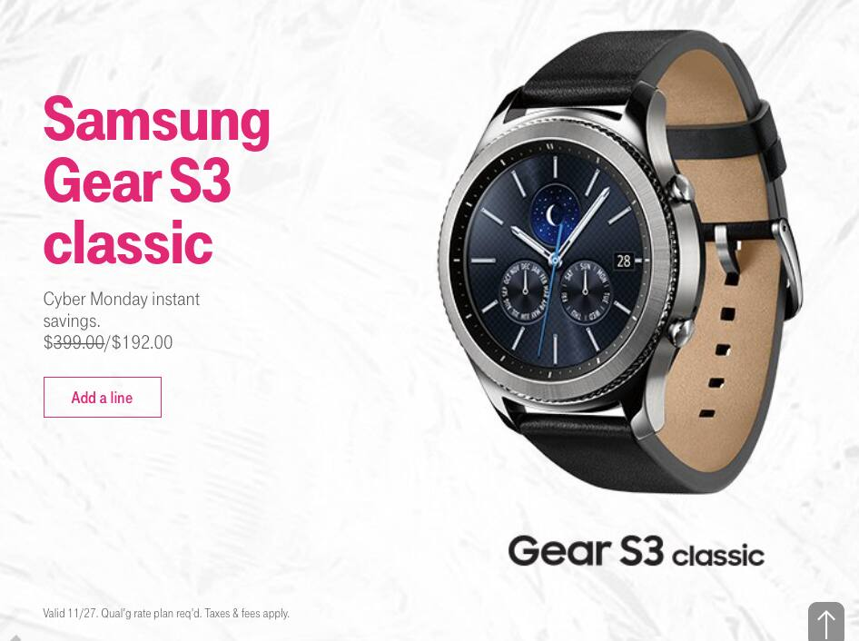 Samsung Gear S3 Classic T-Mobile Cyber Monday $192