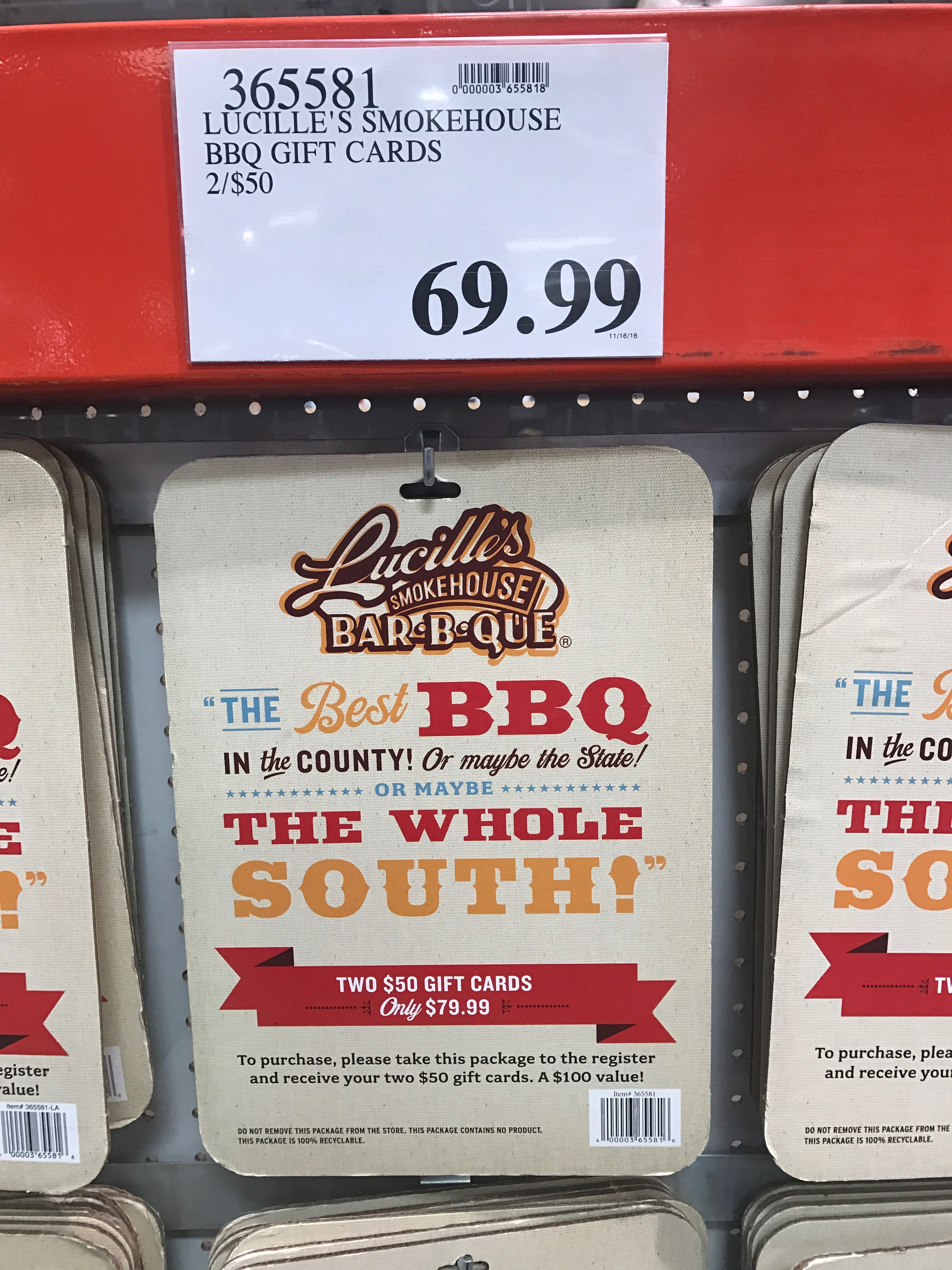 Lucilles Smokehouse Bbq 100 Gift Cards 2x50 6999 Costco Bm