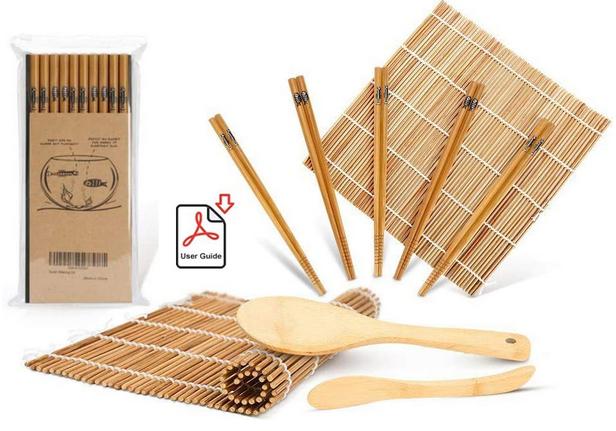 Sushi Making Kit Including 2 Sushi Rolling Mats, 5 Pairs of Chopsticks - $7.79 @ Amazon