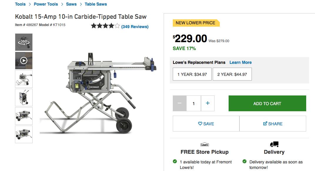 Kobalt 15-Amp 10in Table Saw $200
