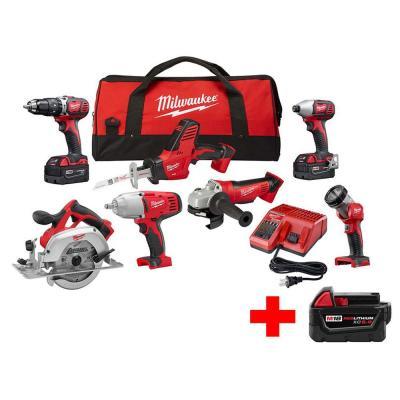 7-tool milwaukee m18 18-volt li-ion cordless kit + bonus 5ah battery ...