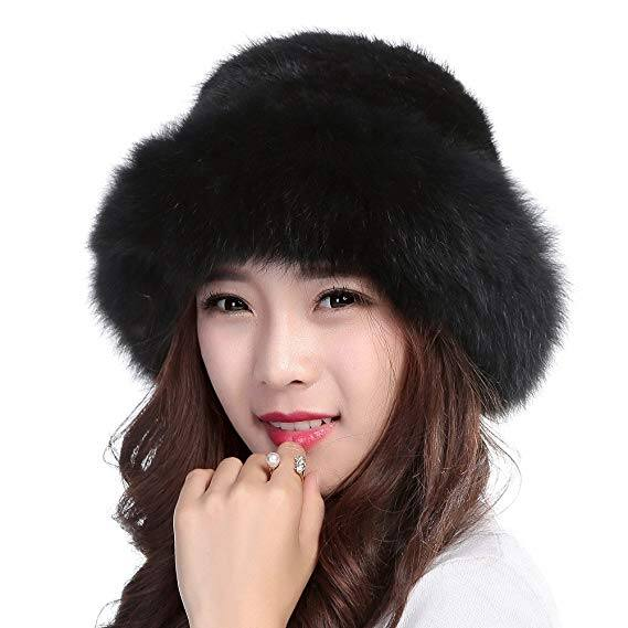 Knitted Mink, Real Fur Hat with Fox Brim  - Amazon.com - $39.92 w/Free Shipping