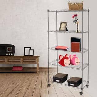 Homdox Stable Classic Shelves 5-Shelf Wire Shelving Rack Shelves with Wheels + $50 in points $66