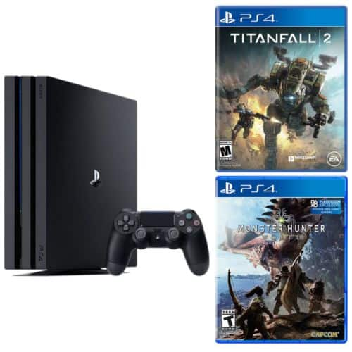 Playstation 4 Pro console + Monster Hunter World + Titanfall 2 for $399, FS Newegg on Ebay