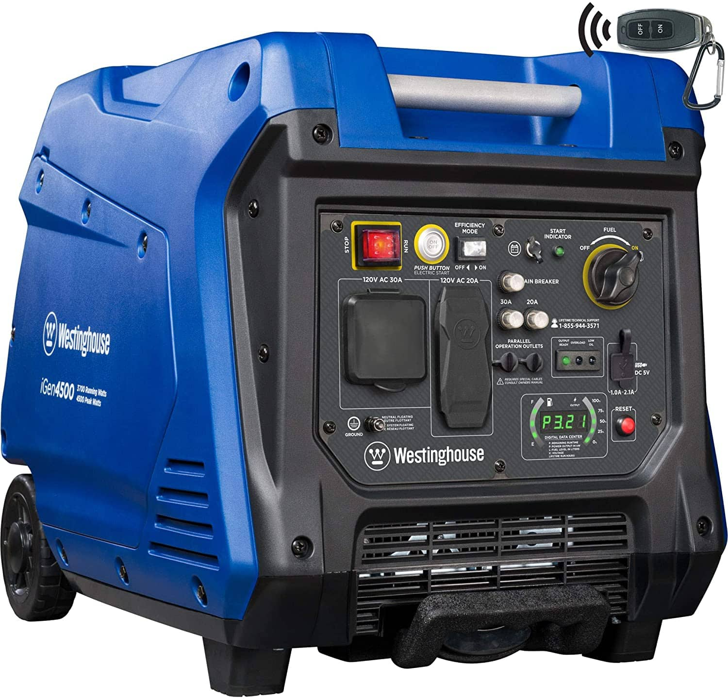 Westinghouse iGen4500 Super Quiet Portable Inverter Generator - 3700 Rated Watts and 4500 Peak Watts - Gas Powered - CARB Compliant, remote start $750.60