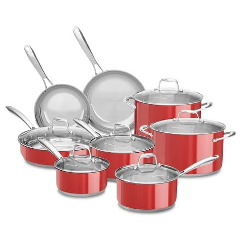 KitchenAid 14pc Cookware Set with Glass Lids - Stainless Steel KCSS14LS $120