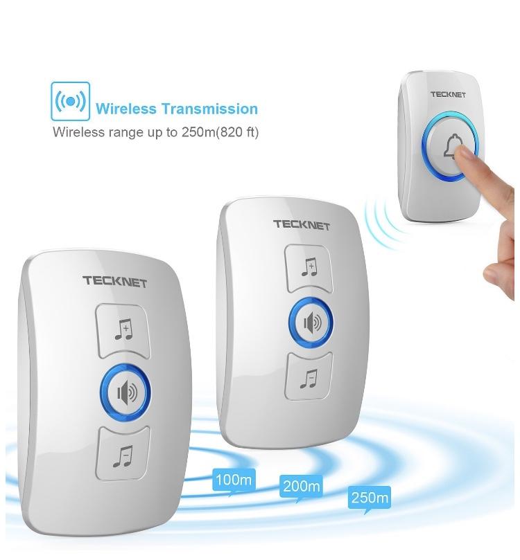 2 Plug-in Receivers with 1 Push Button, TeckNet Wireless Doorbell Kit