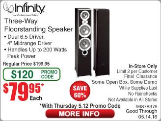 "Infinity Primus 363 6.5"" Tower Speaker $79.95/ea w/ Frys Promo code"