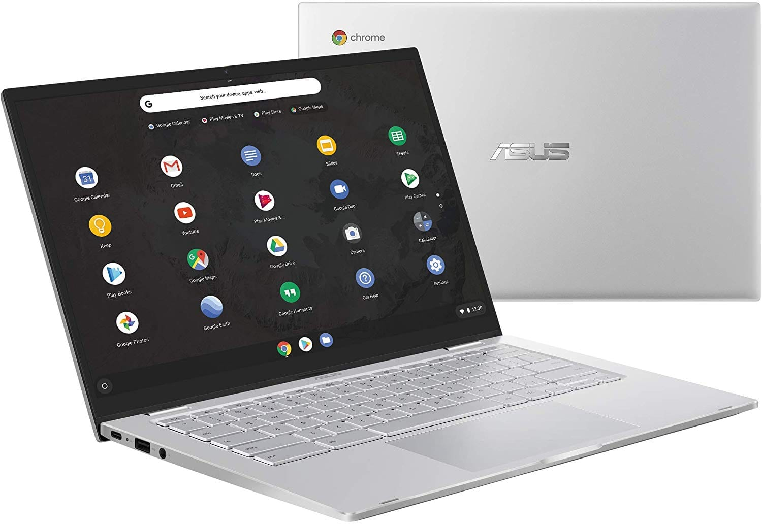 "Asus Chromebook C425 Clamshell Laptop $399 14"" FHD  Intel Core M3-8100Y Processor, 8GB RAM, 64GB eMMC, Backlit KB, Silver, Chrome OS, C425TA-DH384 at Amazon. $399.99"