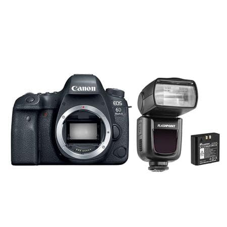 EOS 6D Mark II DSLR Body With Flashpoint Zoom Li-on R2 TTL On-Camera Flash + Canon Premium Fine Art Smooth Cotton Matte Inkjet Paper(FA-SM1) 25 sheets $1221.75