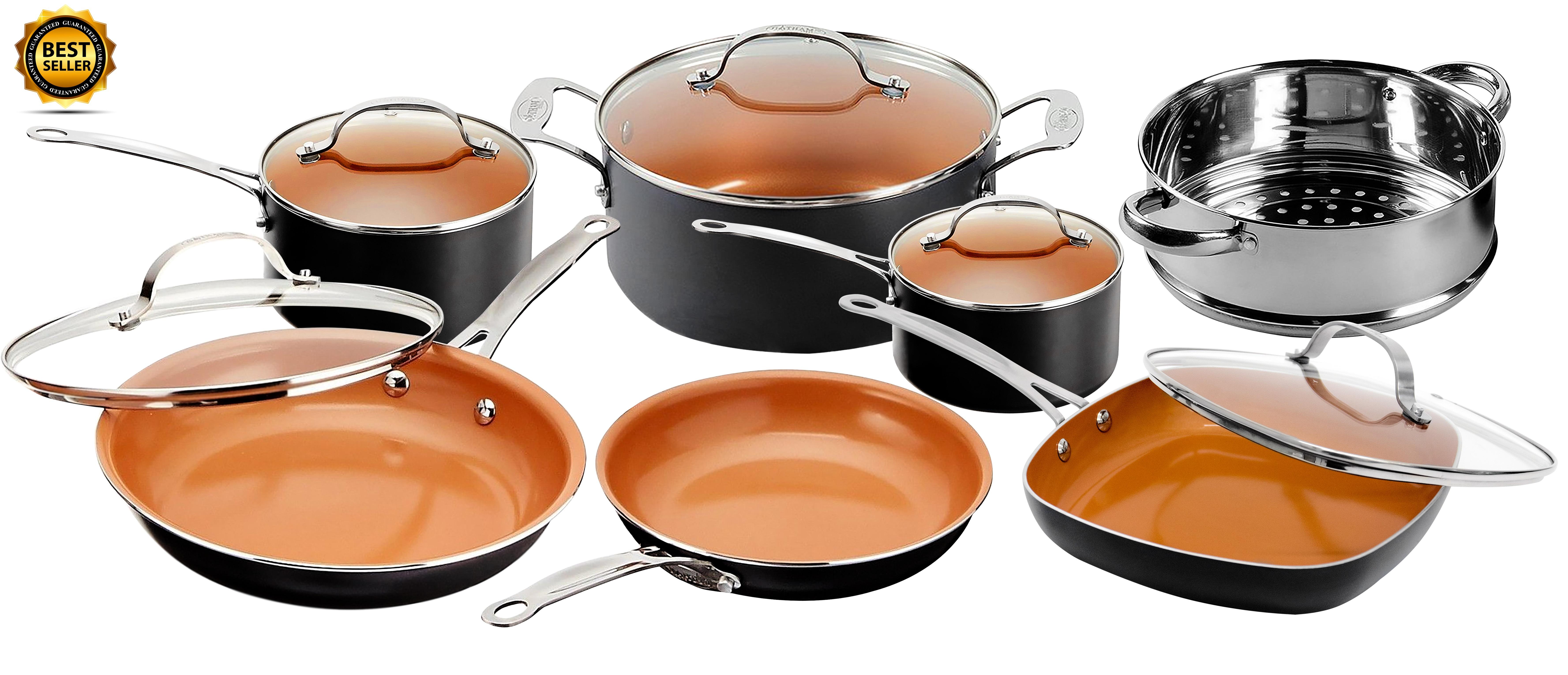 Gotham Steel 12 Piece Nonstick Ceramic Pots and Pans Cookware Se $79.88