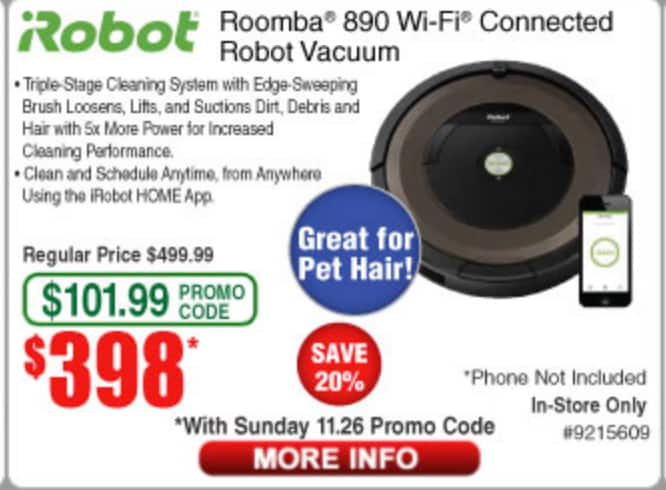 irobot Roomba 890 wifi - Frys sundays promo - B&M- $398+taxes after $101.98 discount