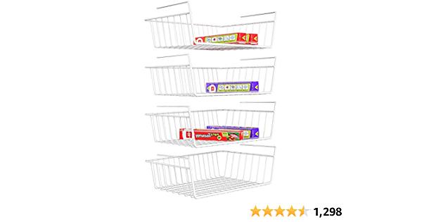 Under Shelf Basket, 4 Pack White Wire Rack For Storage 18.99