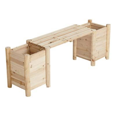 Stonegate Designs Outdoor Wooden Bench with Side Planters @ Northern Tool $39
