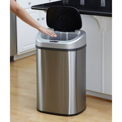 NINESTARS DZT-80-4 Automatic Touchless Motion Sensor Oval Trash Can, 21 Gal. 80 L., Stainless Steel $49.98 + fs