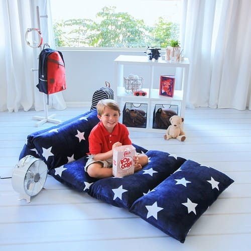 Kids Floor Pillow Fold Out Lounger Fabric Cover for Bed and Game Rooms $22.09