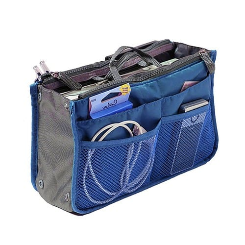 Nylon Handbag Insert Comestic Gadget Purse Organizer with Free Hoxis Gift Pouch(NAVY) $3.65