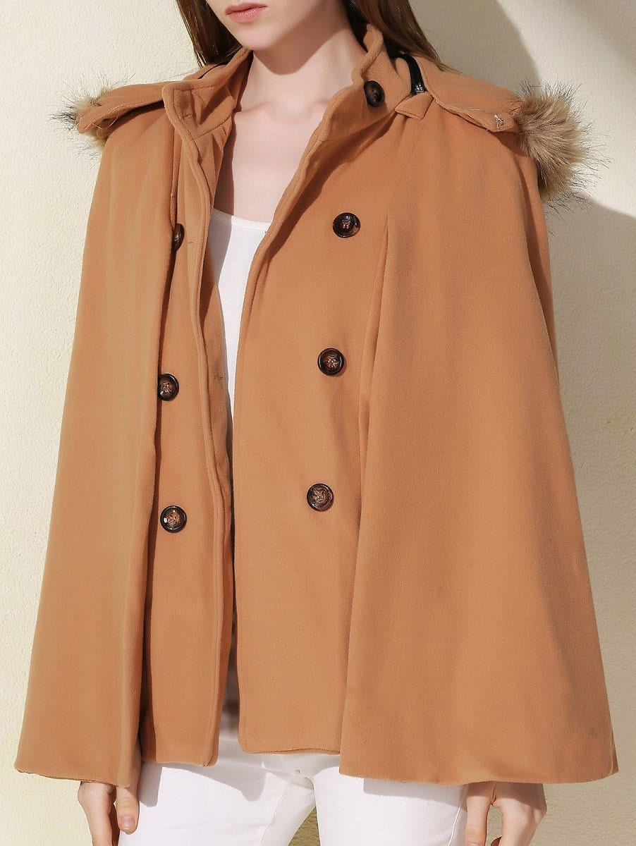 Sweet Hooded Batwing Sleeve Wool Coat For Women - Camel - M $5.99