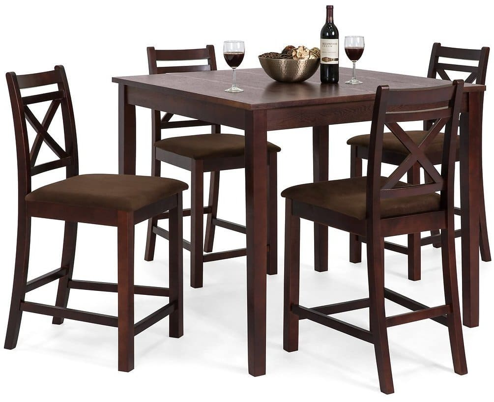 5-Piece Square Dining Table Set w/ 4 Chairs - Espresso $289.99