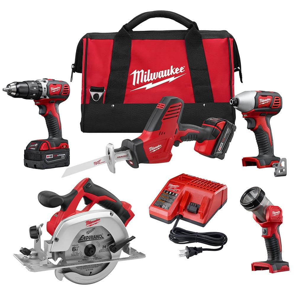Milwaukee M18 18-Volt Lithium-Ion Cordless Combo Tool Kit (5-Tool) with Two 3.0Ah Batteries, One Charger, One Tool Bag $299