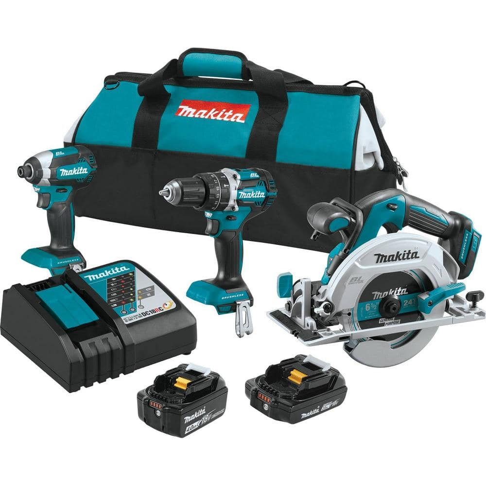 YMMV Makita 18-Volt LXT Lithium-Ion Brushless Cordless Combo Kit (Drill, Impact, Circular Saw) $229