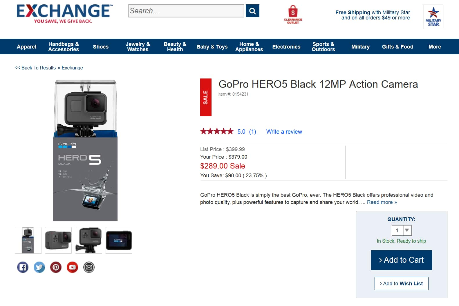 GoPro HERO5 Black $289 + Free Shipping $289