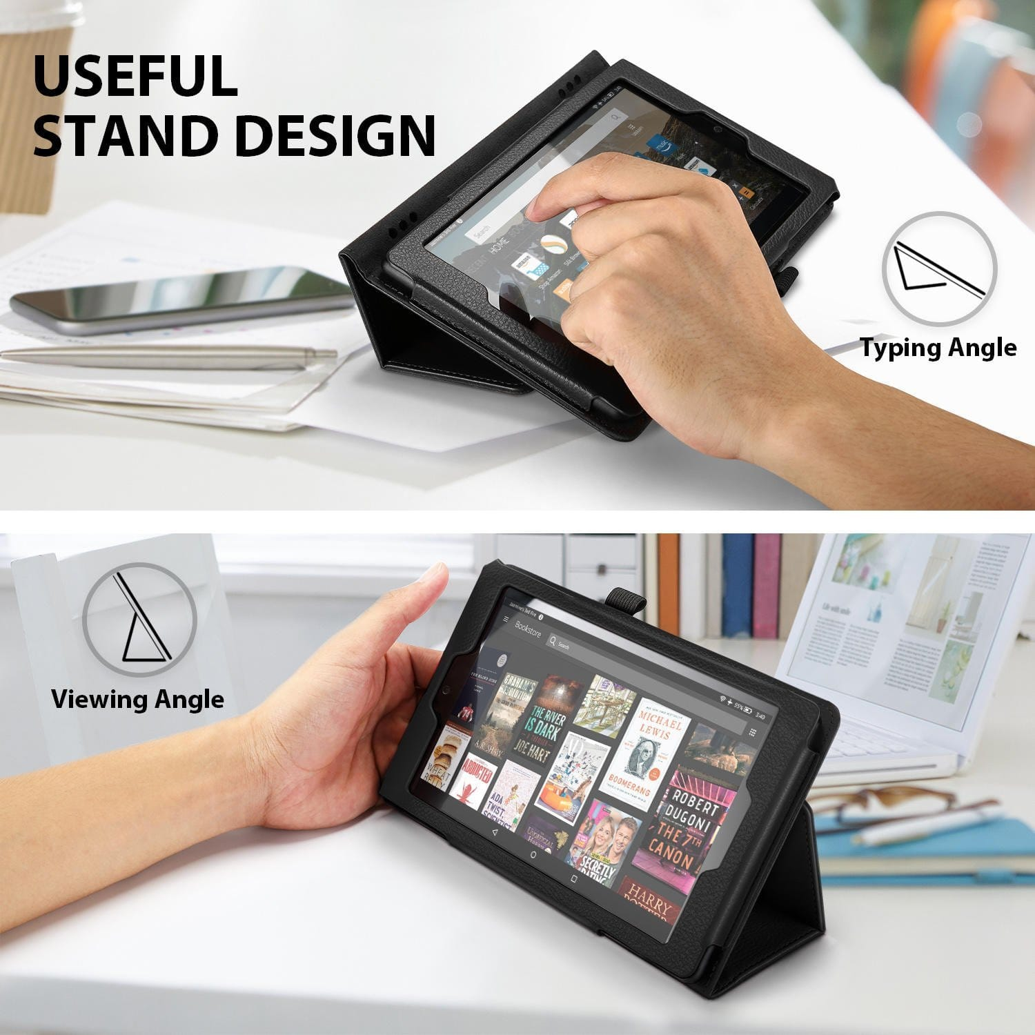 Amazon Fire HD 8 & 7 Cases in Black (PU Leather) - $5.99
